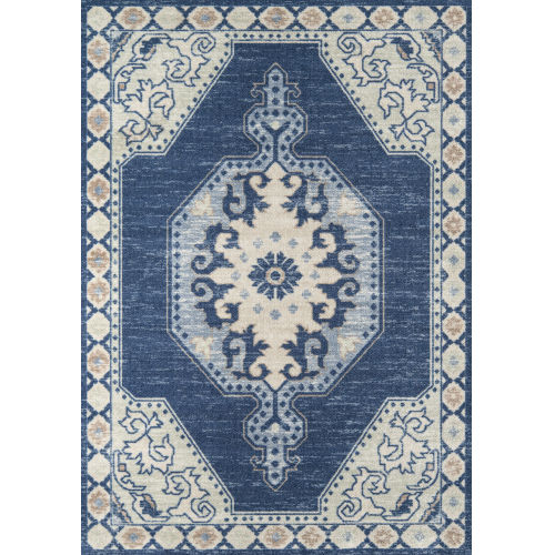 Anatolia Medallion Navy Runner: 2 Ft. 3 In. x 7 Ft. 6 In.