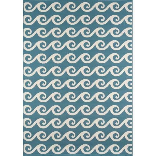 Baja Waves Blue Rectangular: 6 Ft. 7 In. x 9 Ft. 6 In. Rug