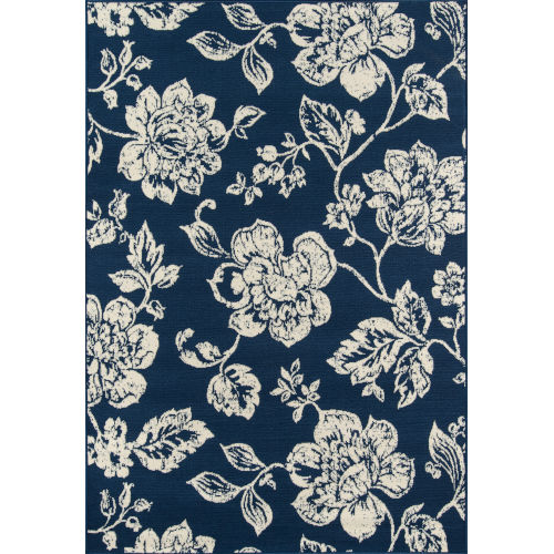 Baja Floral Blooms Navy Rectangular: 8 Ft. 6 In. x 13 Ft. Rug