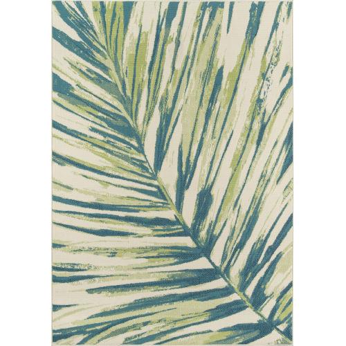 Baja Palm Leaf Green Rectangular: 5 Ft. 3 In. x 7 Ft. 6 In. Rug