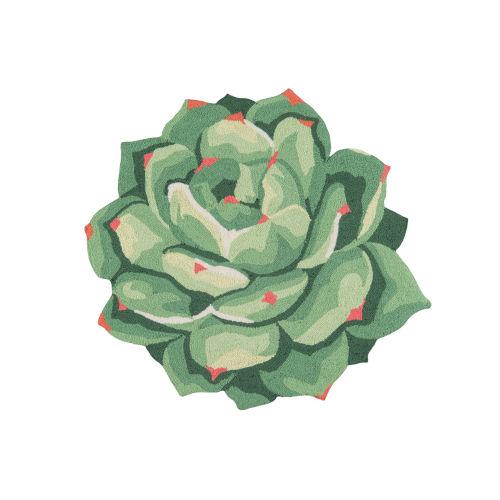 Cucina Succulent Green Round: 3 Ft. x 3 Ft. Round Rug