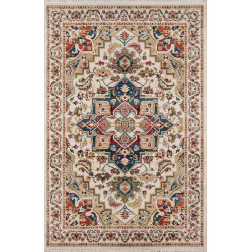 Lenox Medallion Ivory Rectangular: 7 Ft. 6 In. x 9 Ft. 6 In. Rug