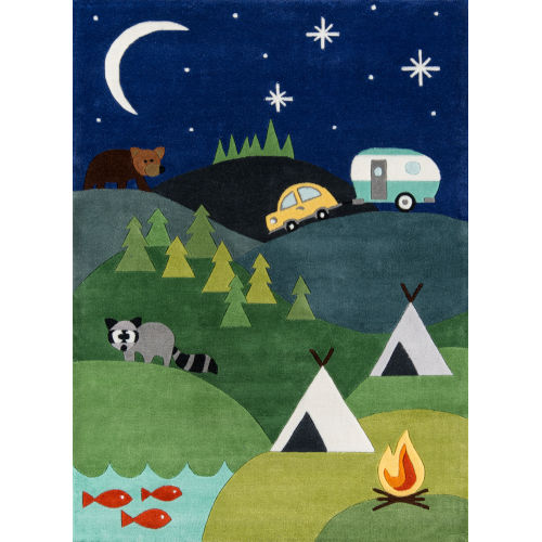 Lil Mo Whimsy Camping Blue Rectangular: 4 Ft. x 6 Ft. Rug