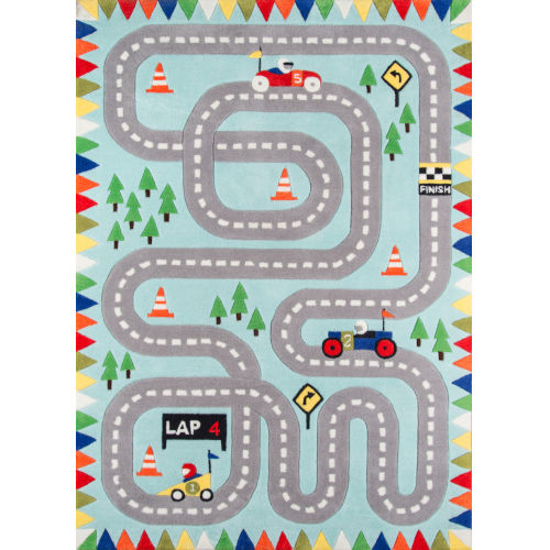 Lil Mo Whimsy Racetrack Light Blue  Rug
