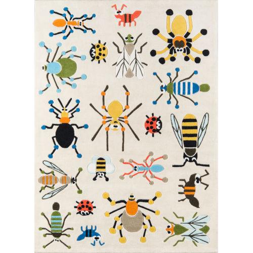 Lil Mo Whimsy Bug Ivory Rectangular: 8 Ft. x 10 Ft. Rug
