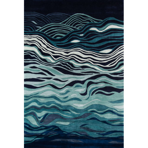New Wave Abstract Navy Rectangular: 5 Ft. 3 In. x 8 Ft. Rug