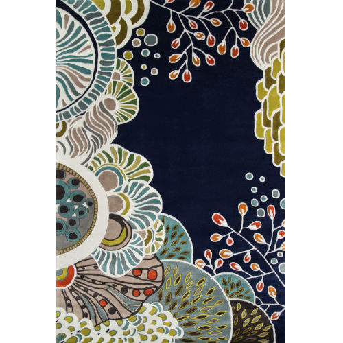 New Wave Floral Navy Round: 7 Ft. 9 In. x 7 Ft. 9 In. Round Rug
