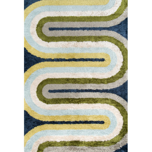 Retro Green Blue Rectangular: 3 Ft. 6 In. x 5 Ft. 6 In. Rug