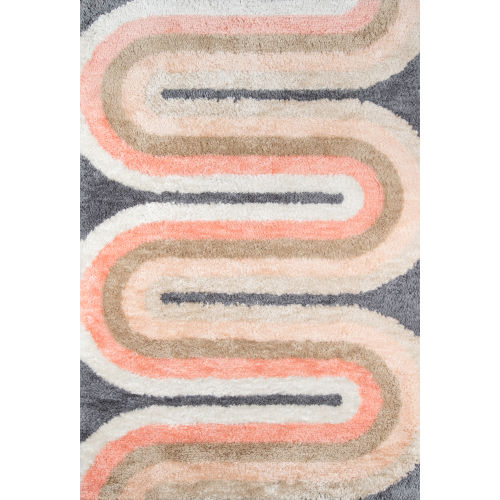 Retro Pink Wave Multicolor Rectangular: 3 Ft. 6 In. x 5 Ft. 6 In. Rug