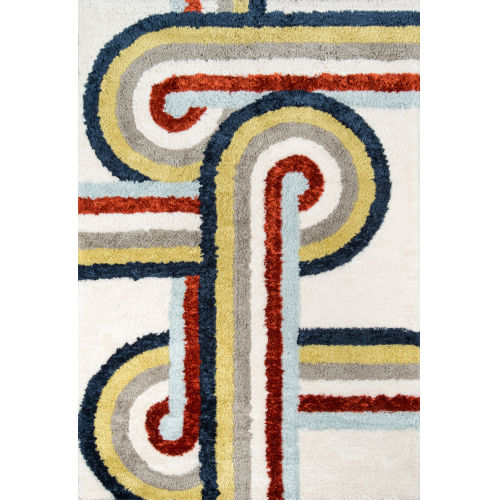 Retro Turnstyle Multicolor Rectangular: 7 Ft. 6 In. x 9 Ft. 6 In. Rug