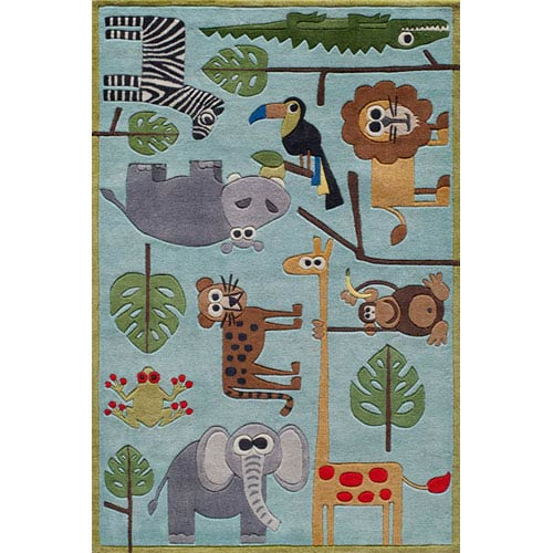 Momeni Lil Mo Whimsy 19 Safari Blue Rectangular: 5 ft. x 7 ft. Rug