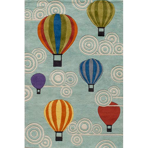 Momeni Lil Mo Whimsy 20 Hot Air Balloons Multi-Color Rectangular: 5 ft. x 7 ft. Rug