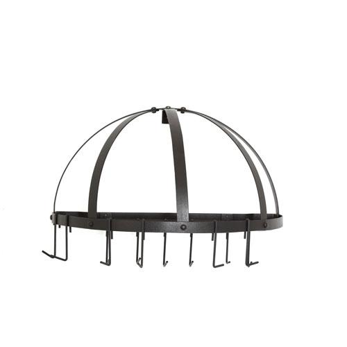 Graphite Medium Gauge Half-Round Pot Rack with Grid and 12 Hooks