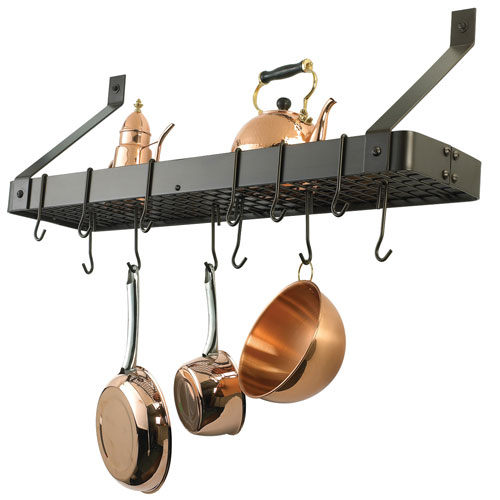 Oiled Bronze Wall-Mount Bookshelf Pot Rack with Grid and 12 Hooks