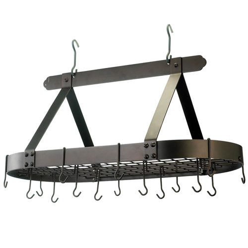 Oiled Bronze Oval Hanging Pot Rack with Grid and 16 Hooks