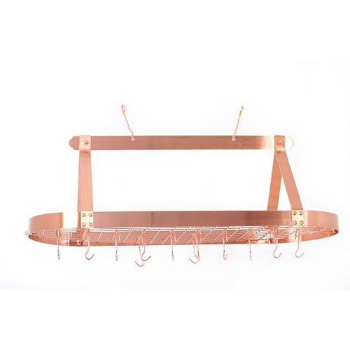 Copper Large Oval Hanging Pot Rack