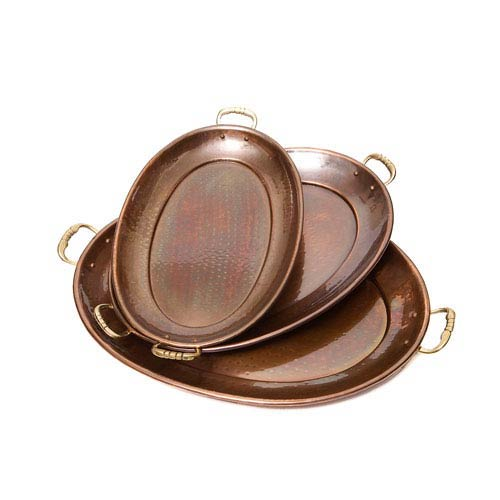 Antique Copper Oval Trays, Set of Three