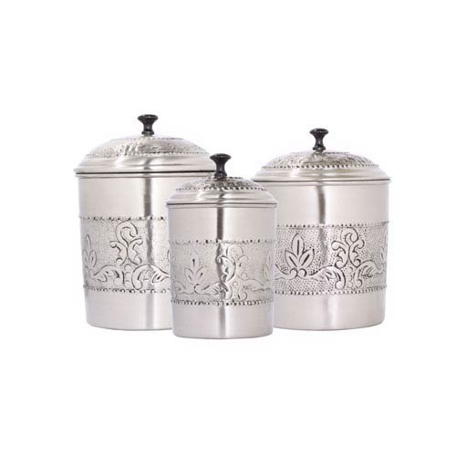 Antique Pewter Embossed Victoria Canister, Set of Three