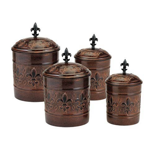 Dark Brown Versailles Canister Set with Fresh Seal® Covers, Set of Four