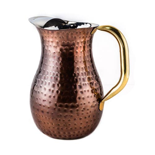 Antique Copper Hammered 2 Quart Water Pitcher with Brass Ice Guard