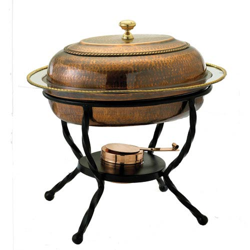 Antique Copper Oval Chafing Dish