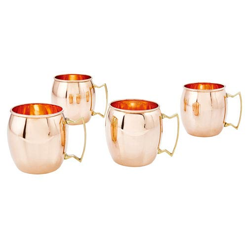 Copper 16 Ounce Moscow Mule Mugs, Set of Four