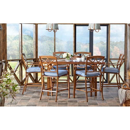 Outdoor High Dining Set in Demo Denim