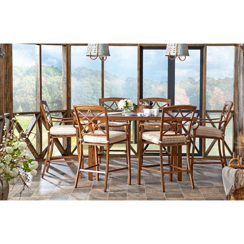 Delicieux Trisha Yearwood Home Collection Outdoor High Dining Set In Espadrille  Driftwood With 11 Ft. Umbrella In Demo Denim