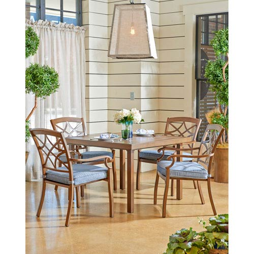 Outdoor 42-inch Dining Table with 4 Dining Chairs in Demo Denim