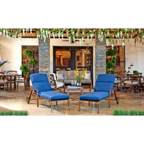 Outdoor Square End Table and 2 Chaise Lounges