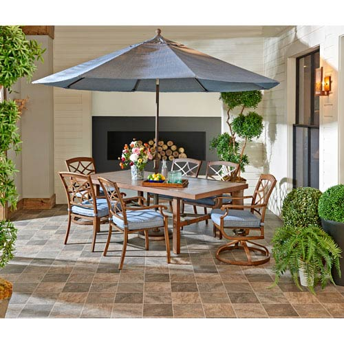 Trisha Yearwood Home Collection Outdoor Dining Set in Demo Denim with 11 ft. Umbrella