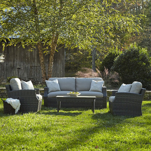Klaussner Furniture Outdoor Cascade 4-Piece Brown Wicker Set with Climaplush™ Cushions and Ston Arm Pillows
