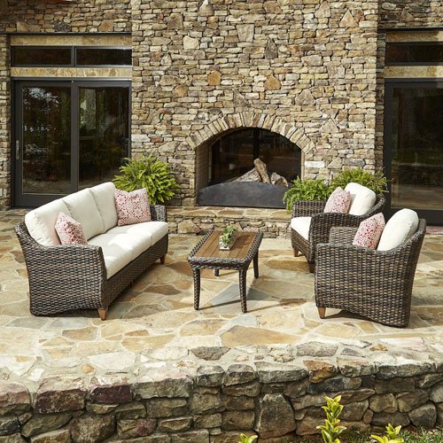 Klaussner Furniture Outdoor Sycamore 4-Piece Brown Wicker Set with Climaplush™ Cushions and Garn Arm Pillows
