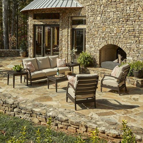 Outdoor Cerissa 6-Piece Brown Aluminum Set with Climaplush™ Cushions and Caju Arm Pillows