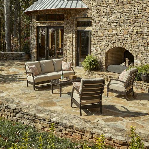 Outdoor Cerissa 4-Piece Brown Aluminum Set with Climaplush™ Cushions and Caju Arm Pillows