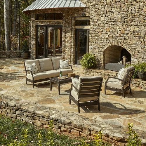 Outdoor Cerissa 4-Piece Brown Aluminum Set with Climaplush™ Cushions and Blue Arm Pillows