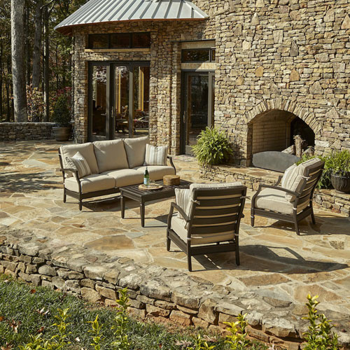 Outdoor Cerissa 4-Piece Brown Aluminum Set with Climaplush™ Cushions and Tan Arm Pillows