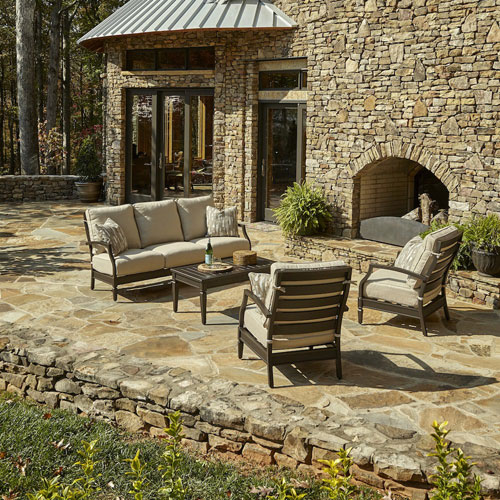 Outdoor Cerissa 4-Piece Brown Aluminum Set with Climaplush™ Cushions and Dese Arm Pillows