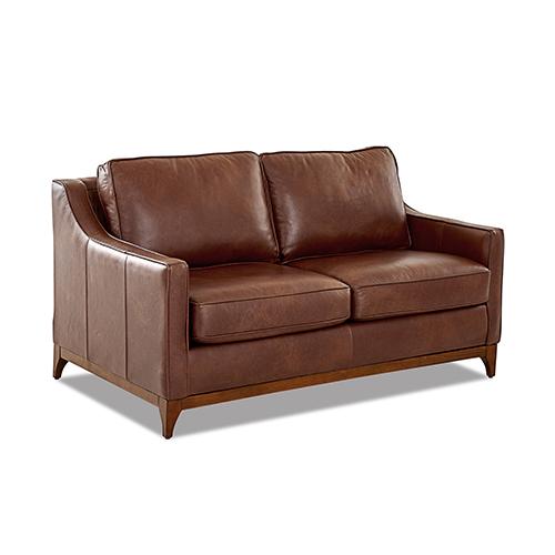 Ansley Leather Wood Base Loveseat
