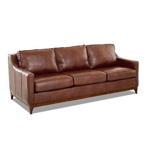 Avenue 405 Ansley Leather Wood Base Sofa