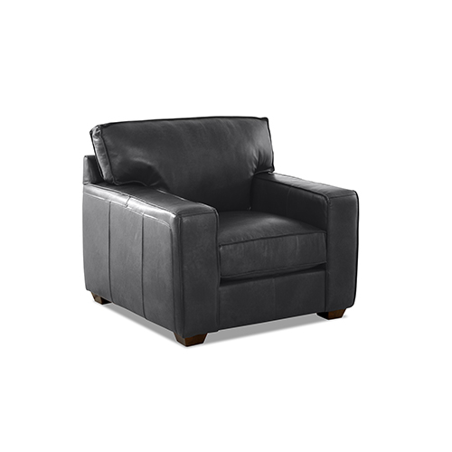Drake Charcoal Leather Down Blend Chair