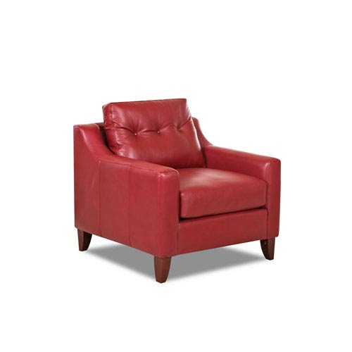 Audrina Leather Chair, Strawberry
