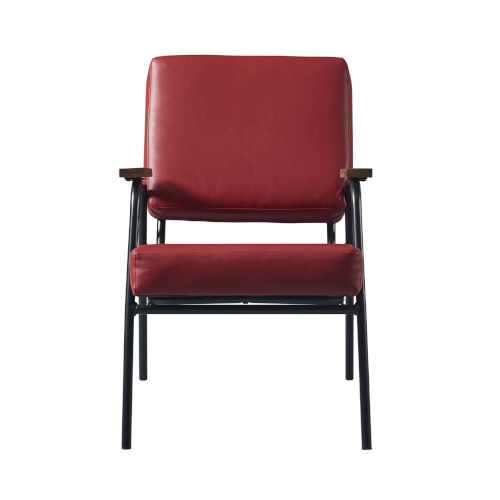 Denver Red and Black Armchair with Metal Leg