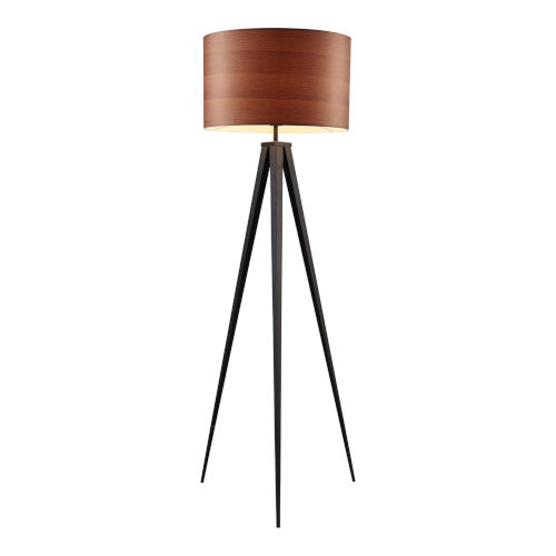 Hamilton Wood Grain and Black Floor Lamp