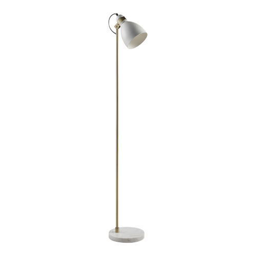 Quincy White Marble and Antique Brass Floor Lamp