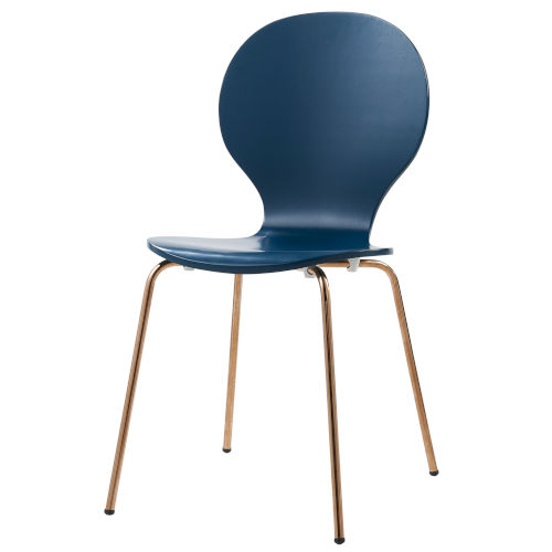 Contorno Bentwood Blue and Rose Gold Chair, Set of 2
