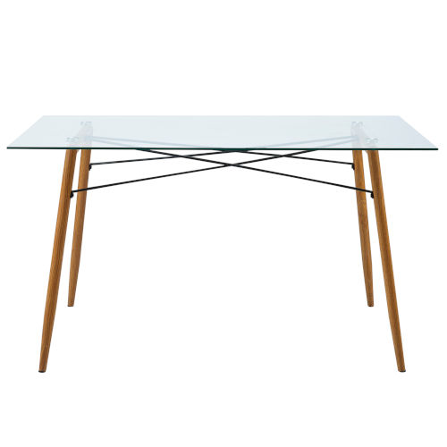 Minimalista Glass and Wood Grain Dining Table