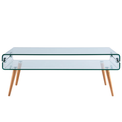 Cassetto Clear Glass and Nature Wood Leg Coffee Table