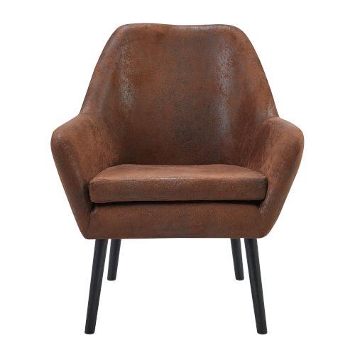 Divano Aged Fabric and Darker Brown Leg Armchair