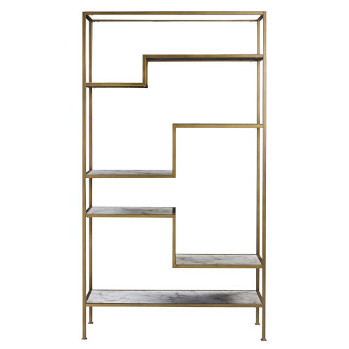 Marmo Faux Marble and Brass Five-Tier Display Bookcase Shelf